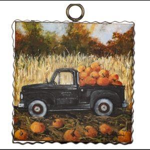 Mini Pumpkin Harvest Truck Print Metal & Wood NWT